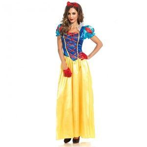 Adult Snow White Long Satin Princess Dress Costume